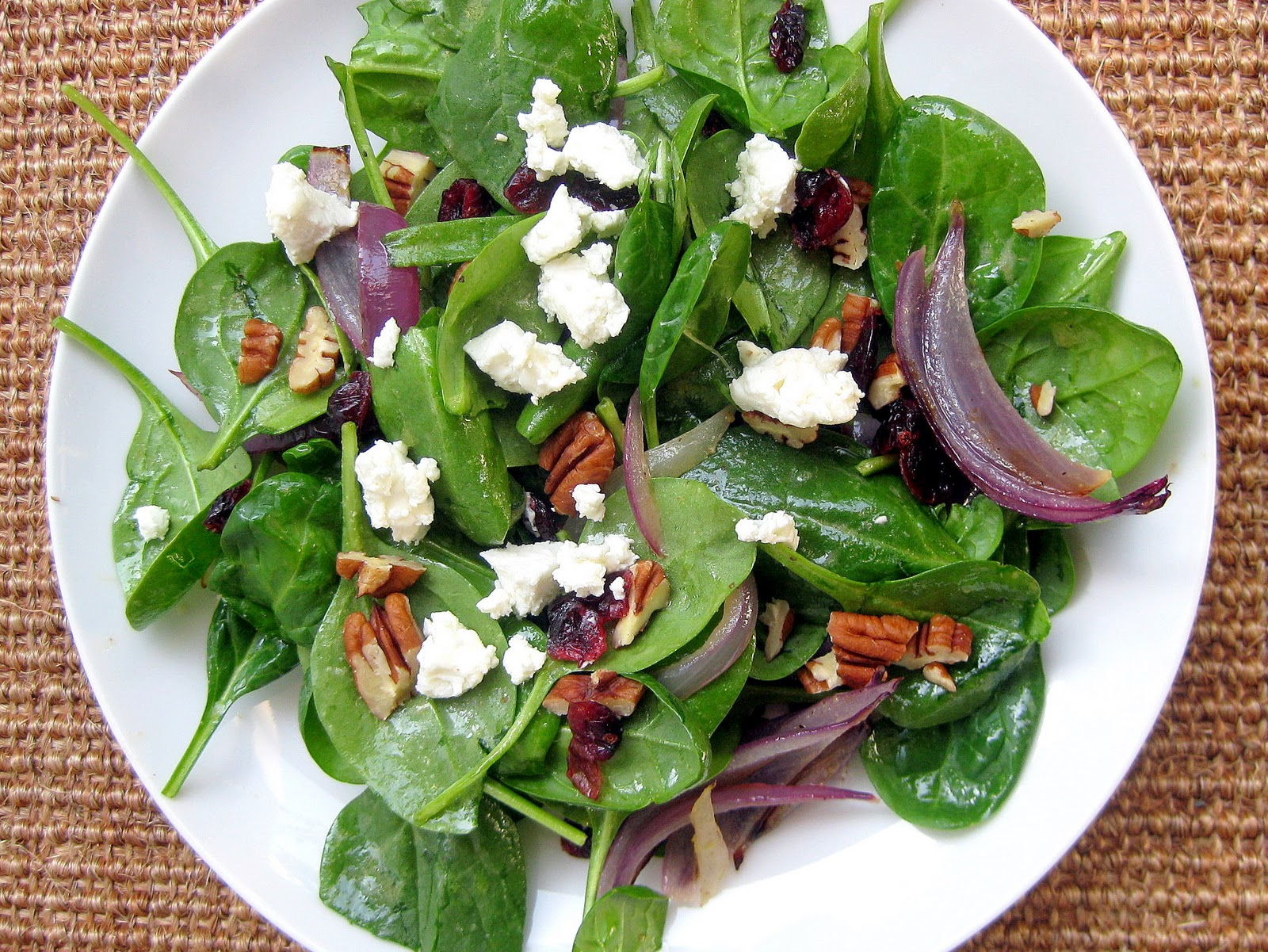 Spinach Salad with Bosc Pears, Cranberries, Red Onion, and ...